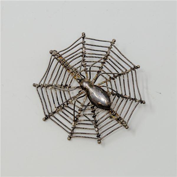 VINTAGE STERLING SILVER STAMPED SPIDER BROACH