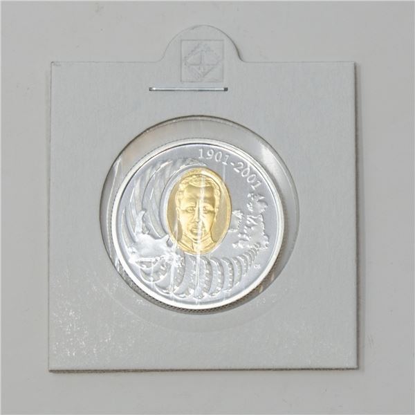 2001 SILVER GOLD PLATE CANADA $5 PROOF COIN,