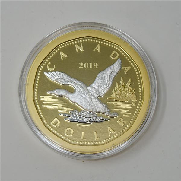 2019 CANADA 5oz SILVER GOLD PLATED FLYING LOON