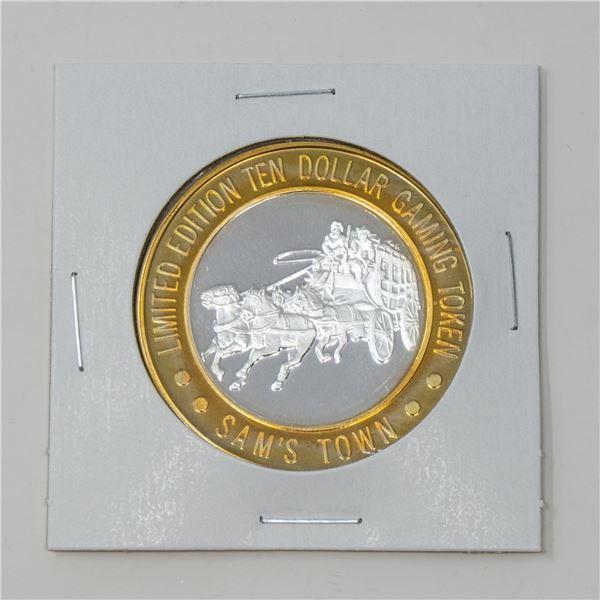 1993 SAM TOWN FINE SILVER $10 CASINO TOKEN, 36.56g