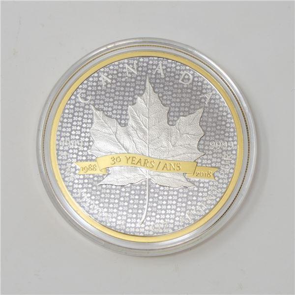 2018 CANADA 2oz SILVER GOLD PLATED MAPLE LEAF