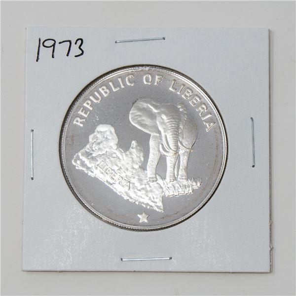 1973 .900 SILVER LIBERIA 34.17gr $5 PROOF COIN