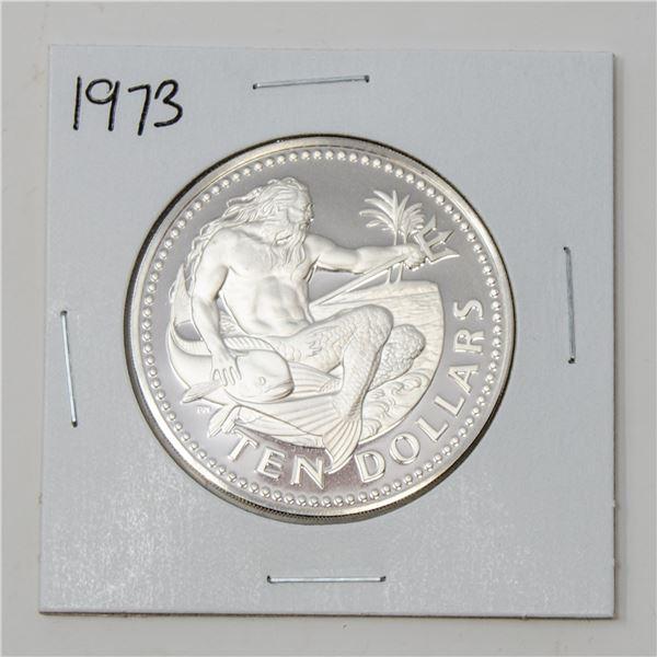 1973 .900 SILVER BARBADOS 38.63gr $10 PROOF COIN