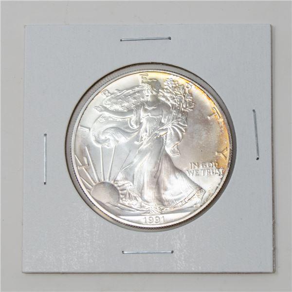 1991 SILVER 1 TROY OZ SILVER EAGLE USA $1 COIN