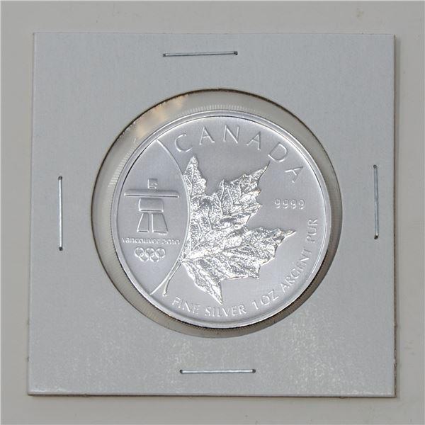2008 FINE SILVER 1oz OLYMPIC MAPLE LEAF $5 COIN