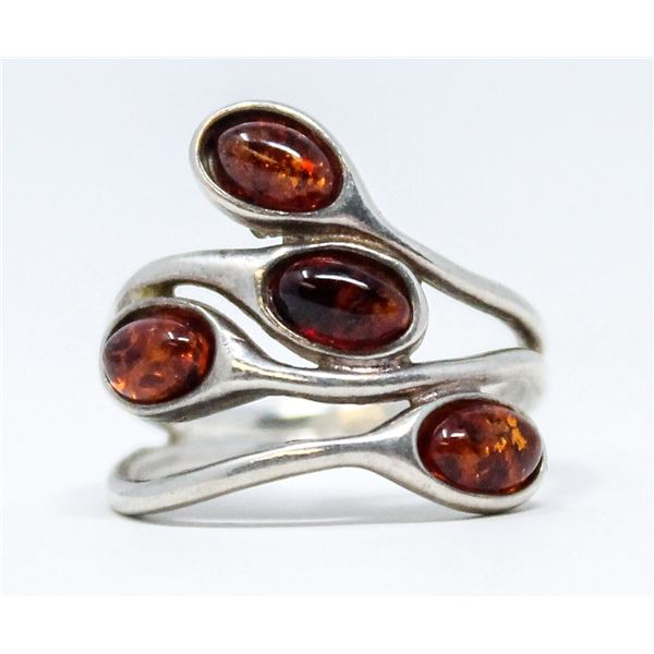 VINTAGE .925 SILVER MARKED AMBER RING, 3.6g SIZE 6.5