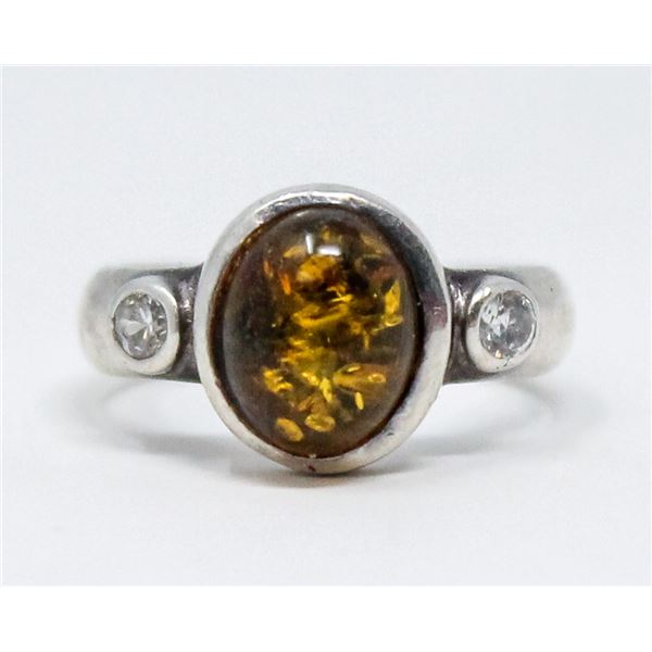 VINTAGE .925 SILVER MARKED AMBER RING, 4.6g, SIZE 6.5