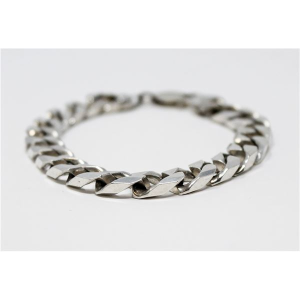 HEAVY .925 SILVER STAMPED CHAIN BRACELET, 37.0g