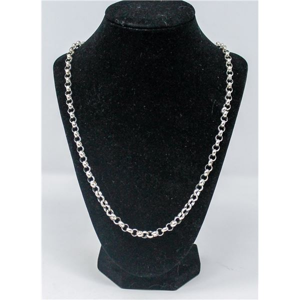 HEAVY .925 SILVER STAMPED NECKLACE/CHAIN, 33.6g