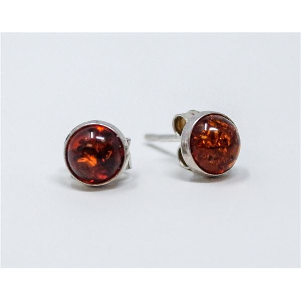 VINTAGE .925 SILVER MARKED AMBER EARRINGS, 0.9g