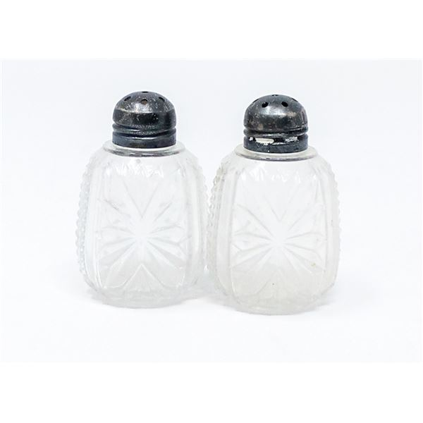 STERLING SILVER CRYSTAL SALT AND PEPPER SHAKERS