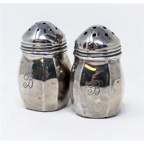 .925 SILVER STAMPED PAIR SALT/PEPPER SHAKERS,