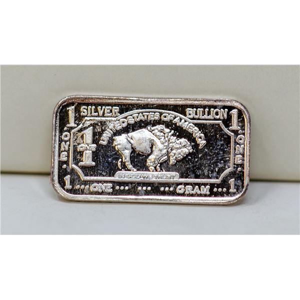 1 GRAM FINE SILVER BUFFALO BULLION BAR