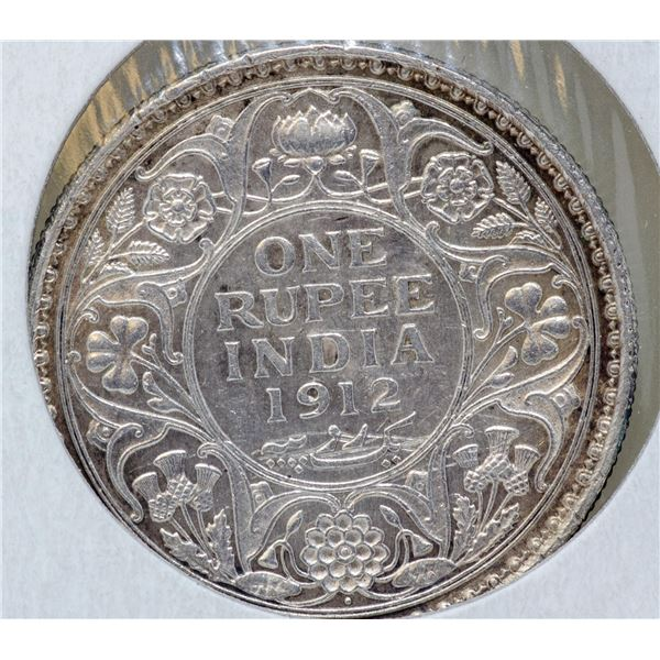 1912 SILVER BRITISH INDIA ONE RUPEE COIN