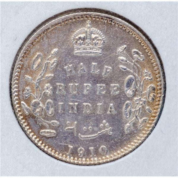 1910 SILVER BRITISH INDIA HALF RUPEE COIN