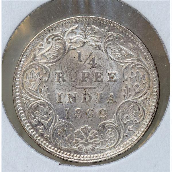 1862 SILVER BRITISH INDIA 1/4 RUPEE COIN