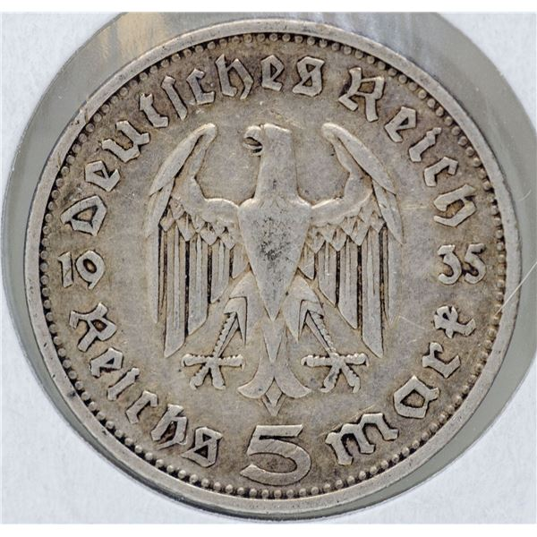 1935 SILVER WWII NAZI GERMANY 5 REICHSMARK COIN