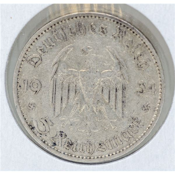 1934 SILVER WWII NAZI GERMANY 5 REICHSMARK COIN