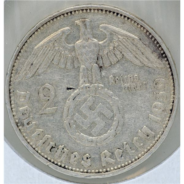 1939 SILVER WWII NAZI GERMANY 2 REICHSMARK COIN