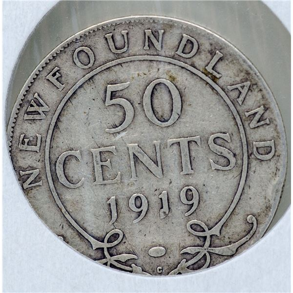 1919 SILVER NEFOUNDLAND 50 CENTS COIN