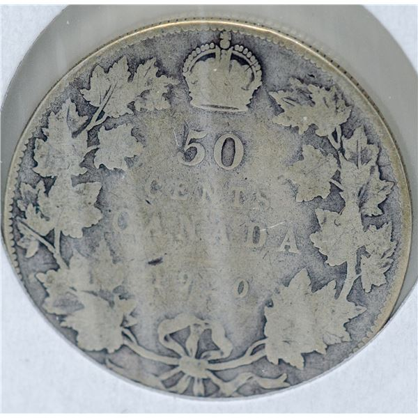 1920 SILVER CANADA 50 CENTS COINS