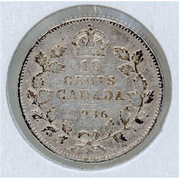 1936 WWII SILVER CANADA 10 CENTS COIN