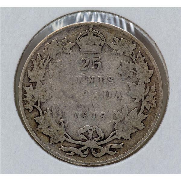1919 SILVER CANADA 25 CENTS COIN