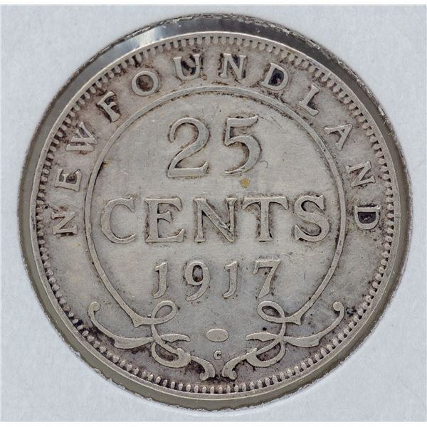 1917 WWII SILVER NEWFOUNDLAND 25 CENTS COIN