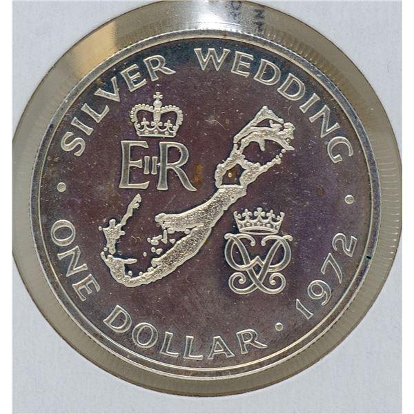 1972 SILVER BERMUDA $1 DOLLAR COIN, BU