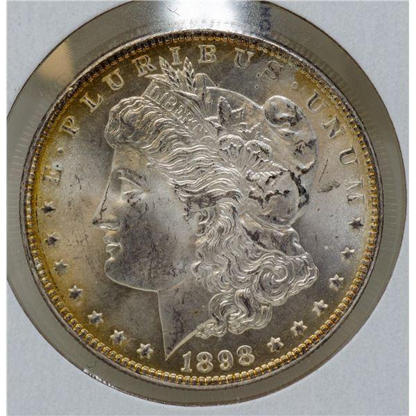 1898 SILVER USA MORGAN $1 DOLLAR COIN, HIGH GRADE