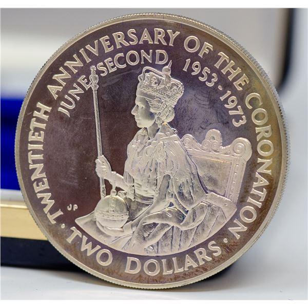 1973 SILVER COOK ISLANDS $2 DOLLAR COIN,