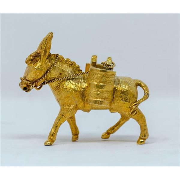 .925 SILVER TESTED GOLD PLATED COLLECTORS MULE,2.5Oz