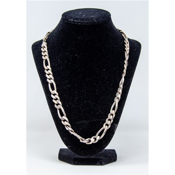 .925 SILVER STAMPED CHAIN LINK MENS CHAIN, 95.5g