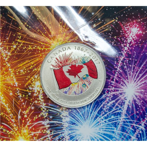 2017 FINE .9999 SILVER CANADA FLAG $5 COIN,