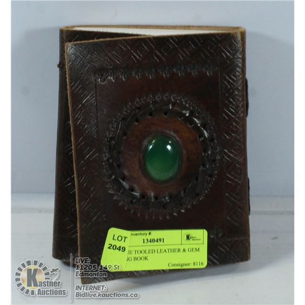 ANTIQUE TOOLED LEATHER & GEM WRITING BOOK