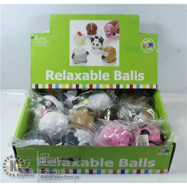 BOX OF 12 NEW RELAXABLE BALLS.