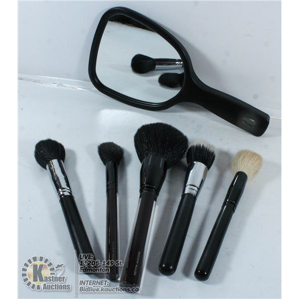 LOT OF MAKEUP BRUSHES AND MAGNIFICATION MIRROR