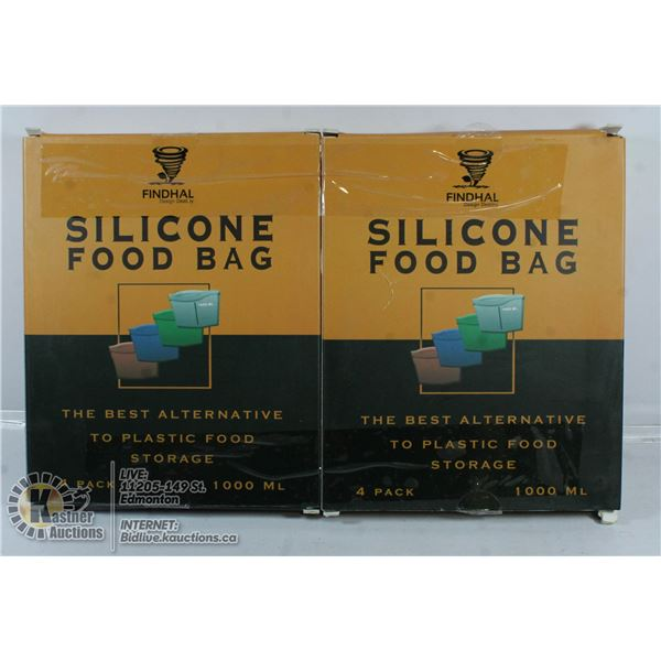 LOT OF TWO 4 PACK SILICONE FOOD BAG