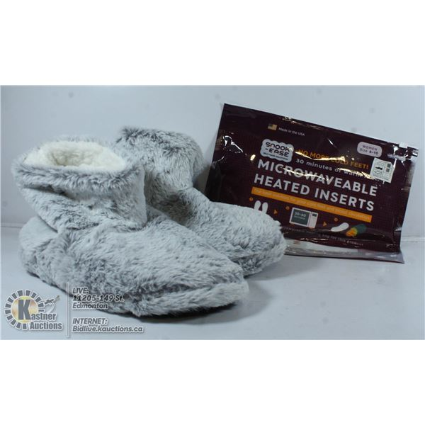 SNOOK-EASE HEATED INSERTS WITH FAUZ FUR SLIPPERS