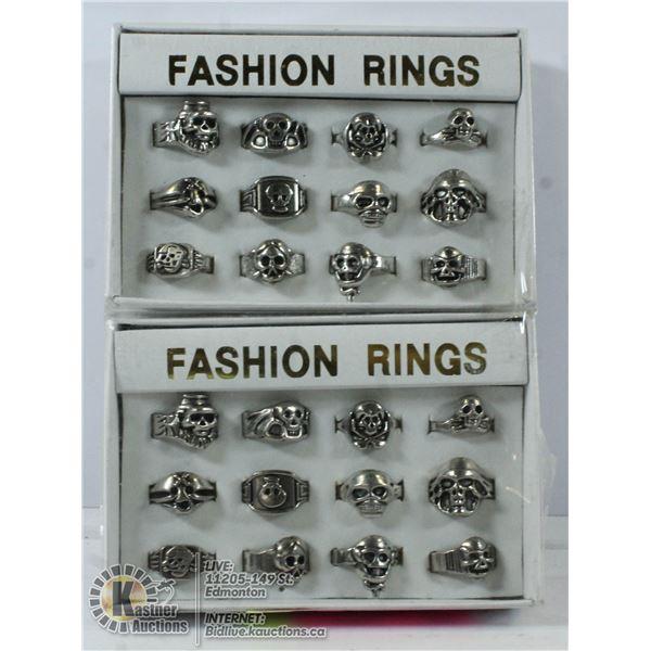 2 SETS OF 12 SKULL RINGS