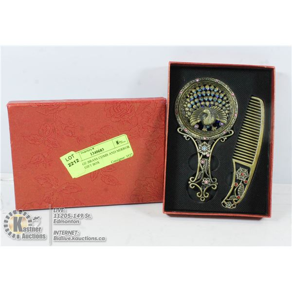 VINTAGE BRASS COMB AND MIRROR SET IN GIFT BOX