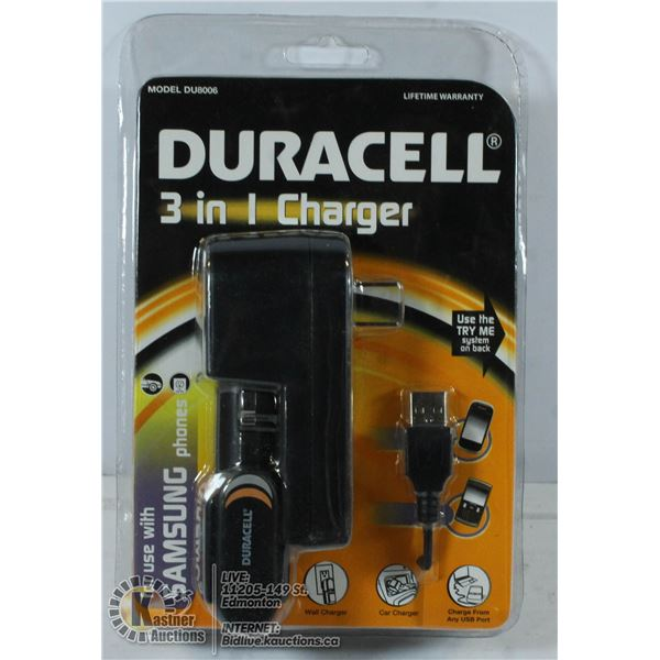 DURACELL 3 IN ONE CHARGER PACK