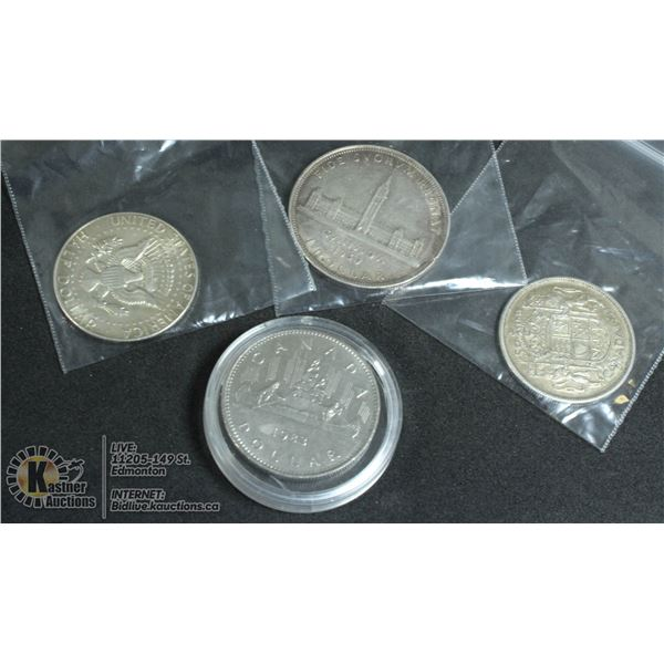 A LOT OF 4 SILVER COINS