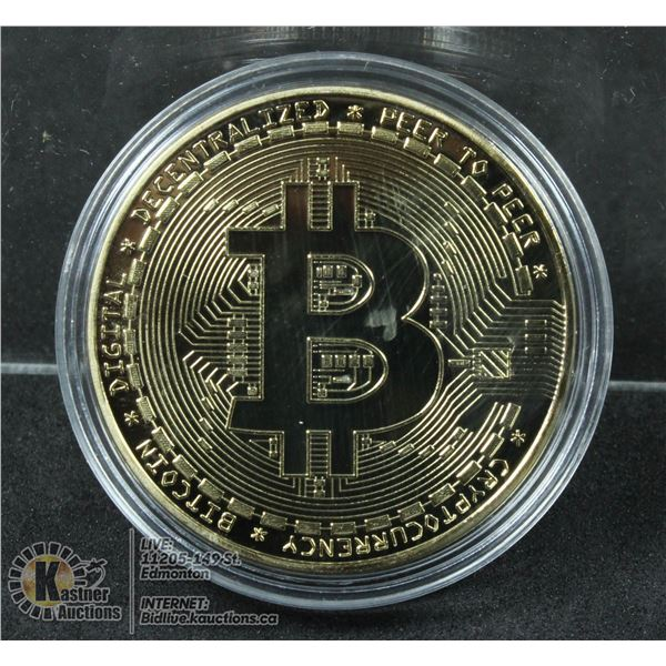 GOLD PLATED BITCOIN IN PROTECTIVE CASE