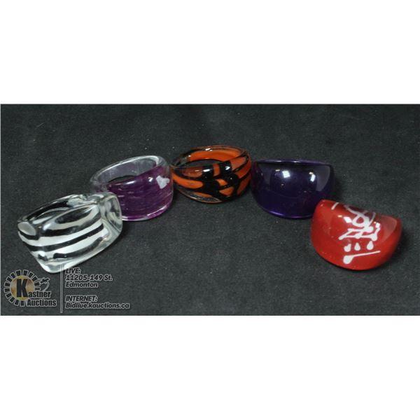 5 RETRO PLASTIC BUBBLE RINGS STATEMENT