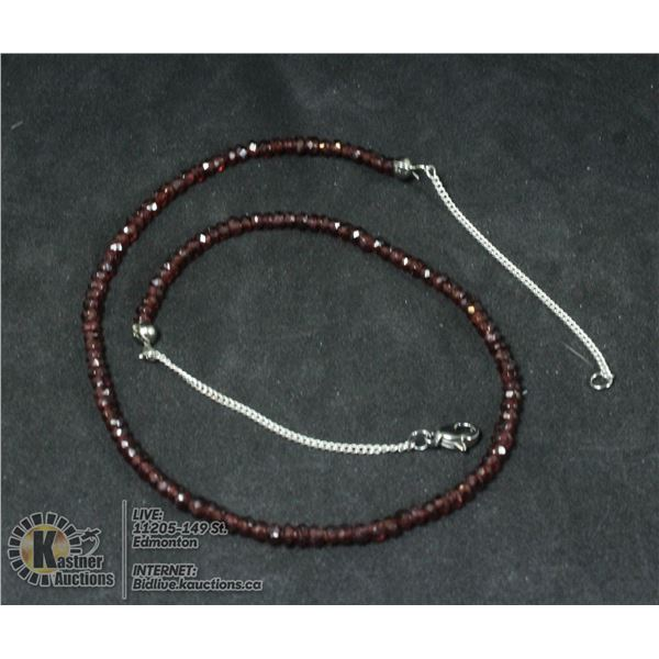 NATURAL GARNET NECKLACE WITH 925 SILVER CLASPS