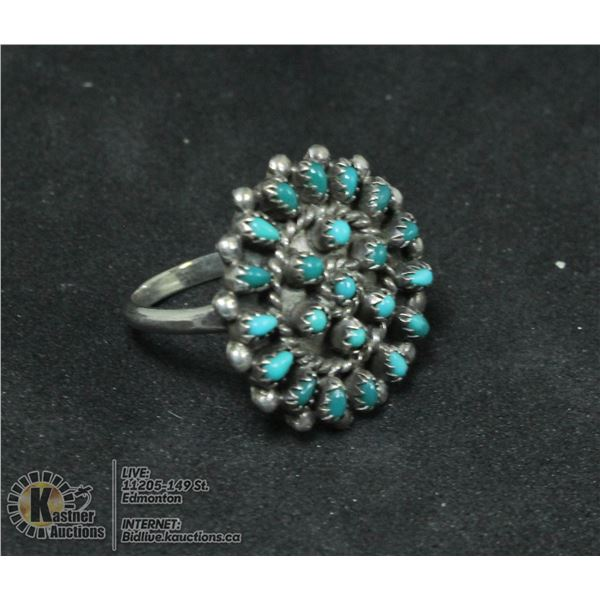 ANTIQUE .925 STERLING RING W STONES SIZE 6