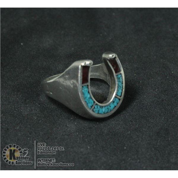 VINT. HANDMADE .925 STERLING LUCKY HORSESHOE RING