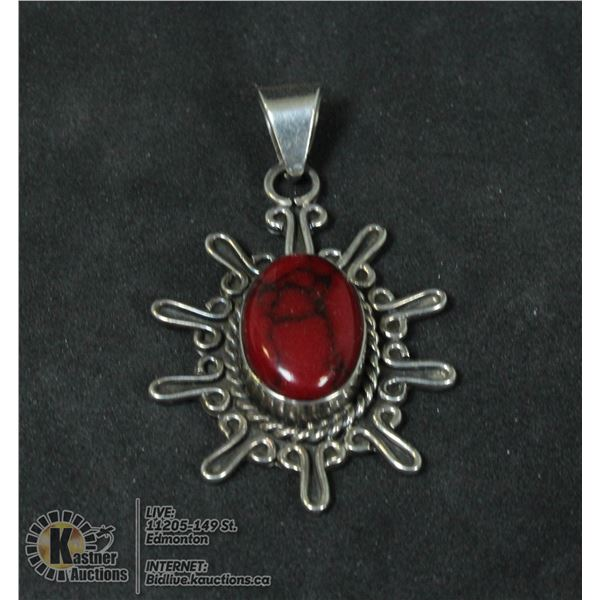 VINTAGE .925 STERLING PENDANT WITH STONE