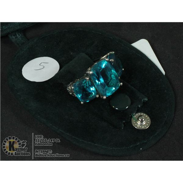 SILVER 925 RING WITH 15 CARAT TURQUOISE TOPAZ